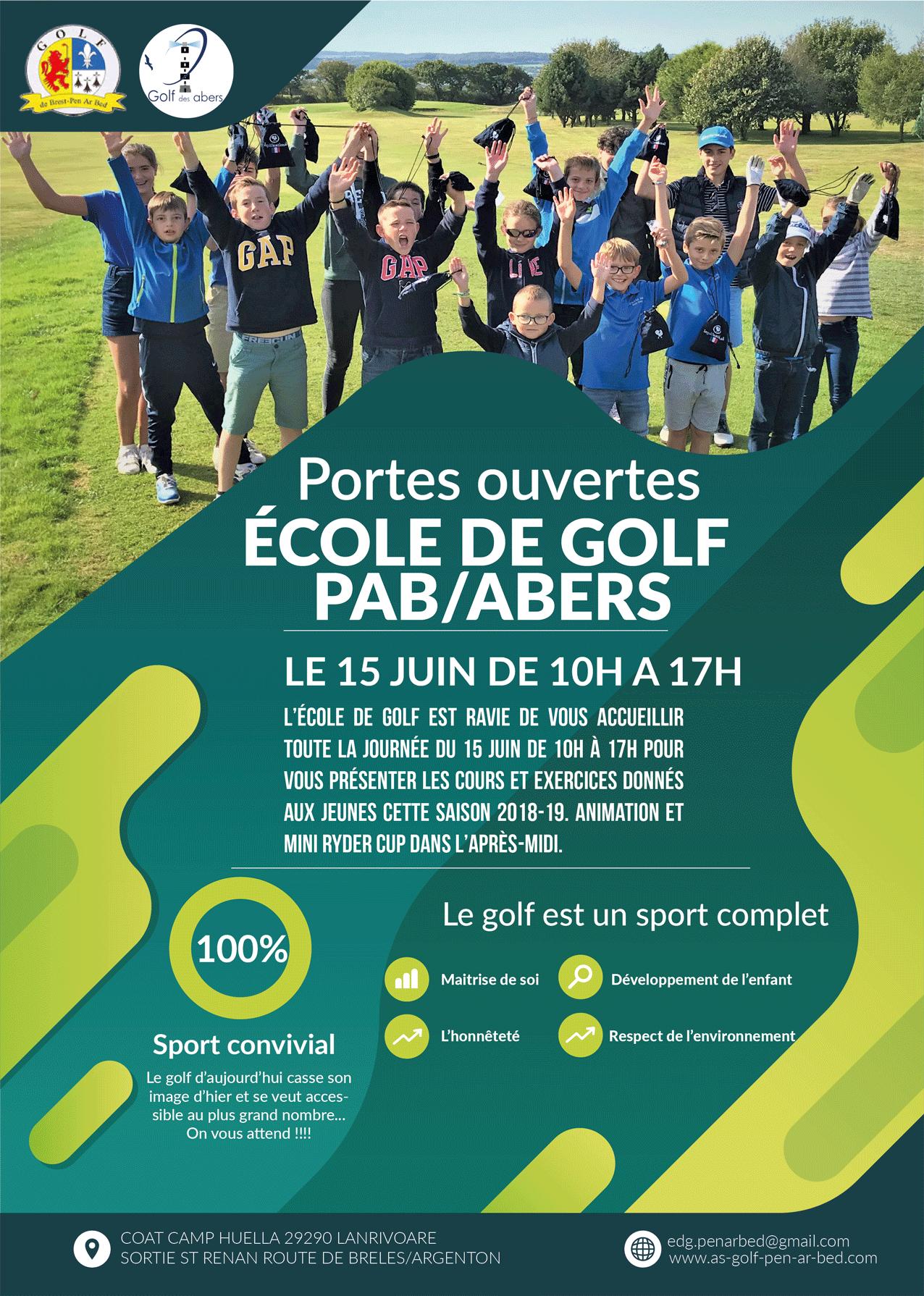 Portes ouvertes le 15 juin a l'école de golf de Pen Ar Bed